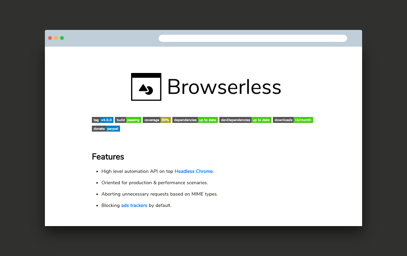 browserless, a puppeter-like Node js library for interacting